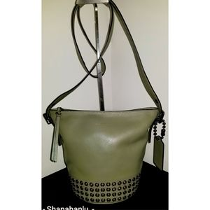 Coach Bleecker Grommet Leather Bucket Crossbody 💚
